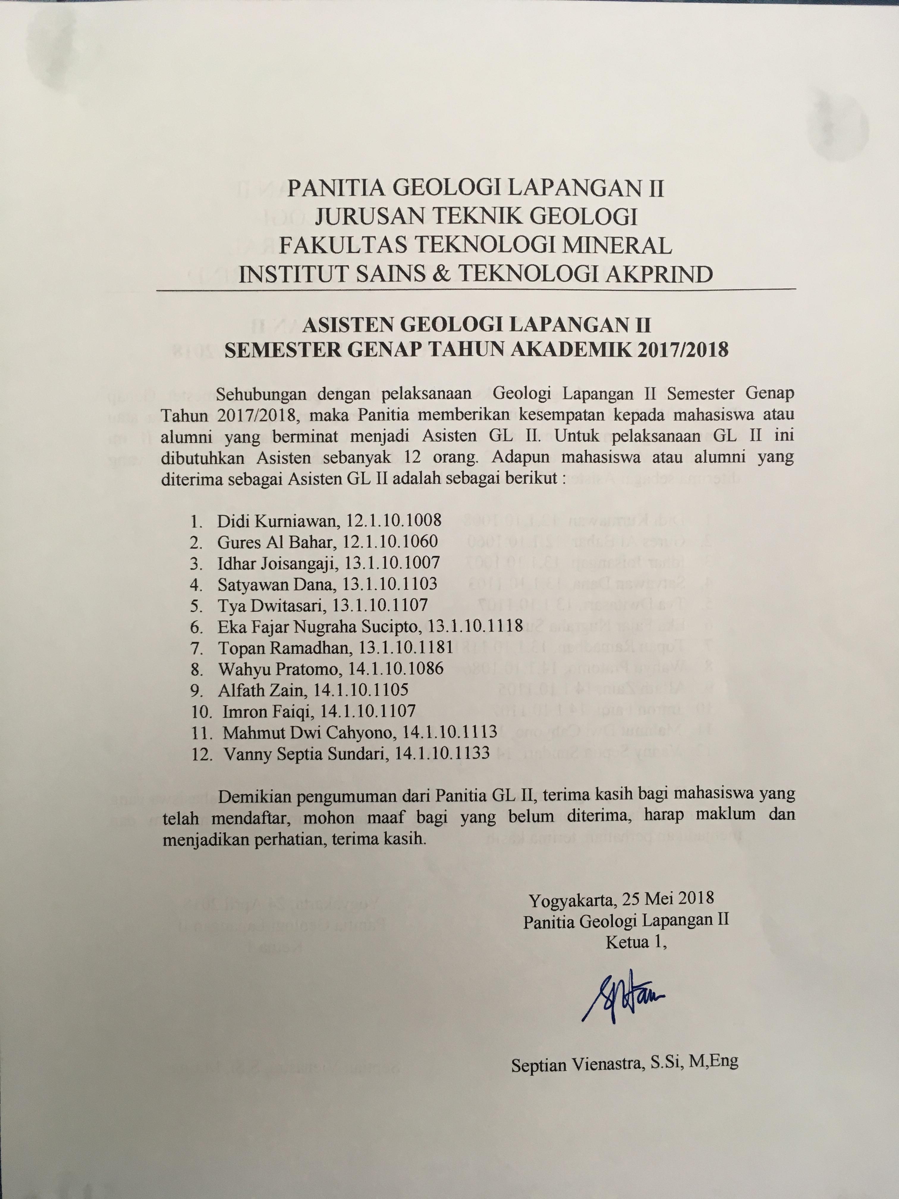 PENGUMUMAN Daftar Asisten yang diterima sebagai ASISTEN GL 2 Jurusan Teknik Geologi