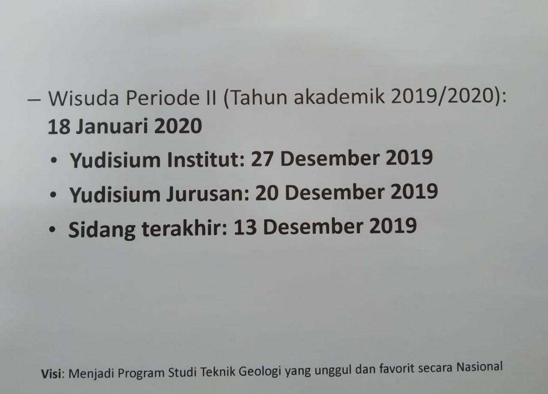 WISUDA PERIODE II (TAHUN AKADEMIK 2019/2020): 18 Januari 2019