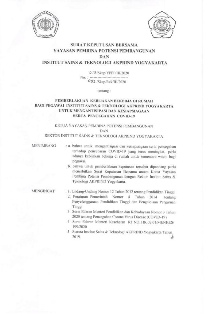 (OK) 052-Skep-Rek-III-2020 SKB Pemberlakukan Kebijakan Beketja di Rumah Bagi Pegawai IST AKPRIND Untuk Mengantisipasi dan kesiapsiagaan serta pencegahan Covid-19-1