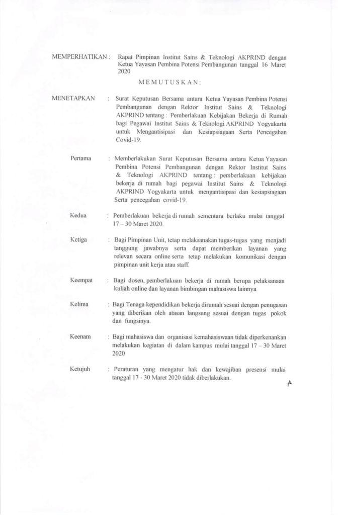 (OK) 052-Skep-Rek-III-2020 SKB Pemberlakukan Kebijakan Beketja di Rumah Bagi Pegawai IST AKPRIND Untuk Mengantisipasi dan kesiapsiagaan serta pencegahan Covid-19-2