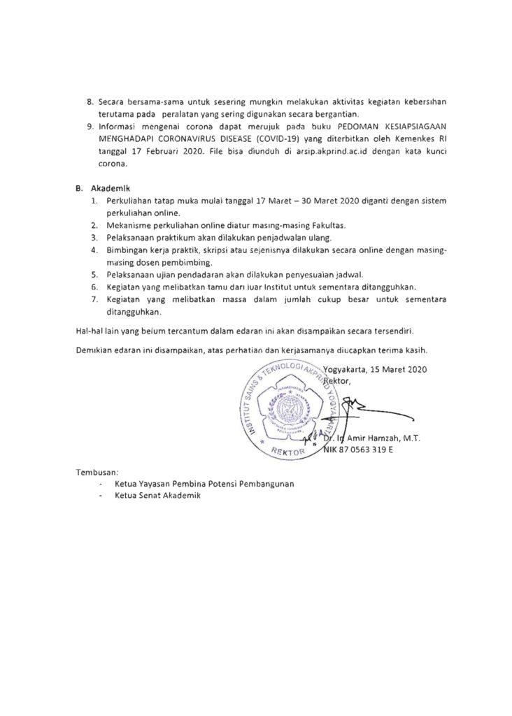SE Rektor IST AKPRIND - Covid-19-2