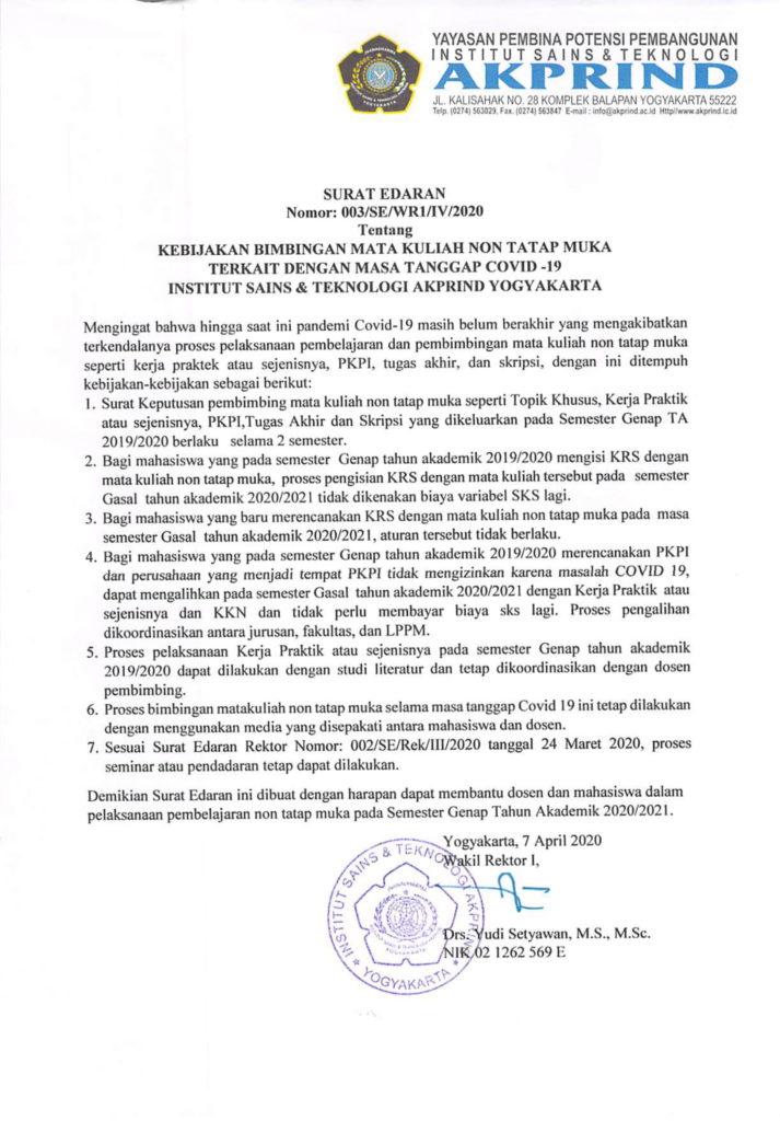003-SE-WR1-IV-2020 kebijakan Bimbingan MK Non Tatap Muka Terkait dengan Masa Tanggap Covid-19 IST AKPRIND Yogyakarta-1